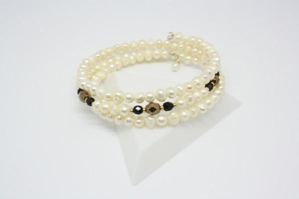 Machbar Wickelarmband echte Perlen in weiß und schwarz