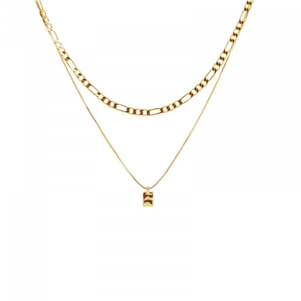 Ripple Square Halskette Vergoldet