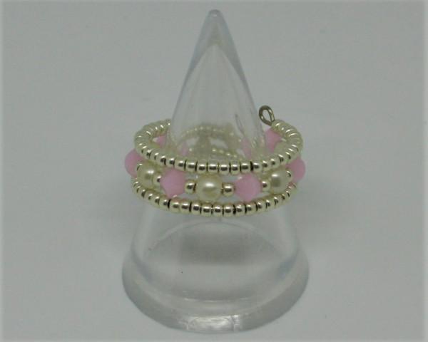 Machbar Schmuck Ring silberfarben weiß und rosa