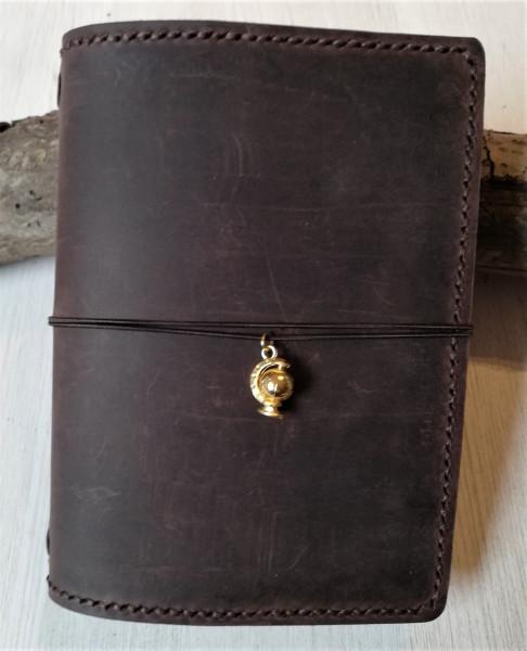 Machbar Leder Notizbuch Travelers Notebook A6 braun genäht