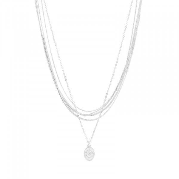 Daisy Oval Multi Halskette Versilbert