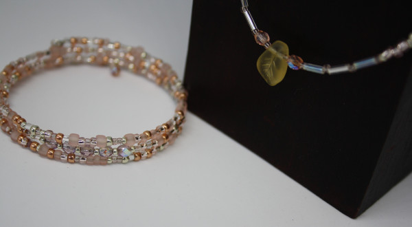 Machbar Wickelkette + Armband puder silber und rosé
