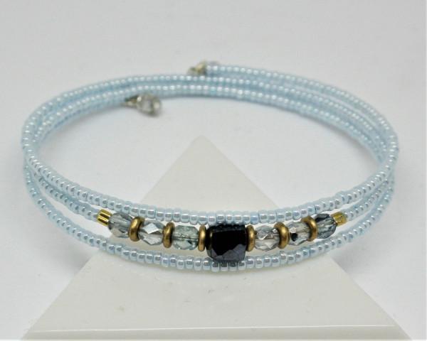 Machbar Wickelarmband silber hellblau