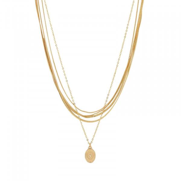Daisy Oval Multi Halskette Vergoldet