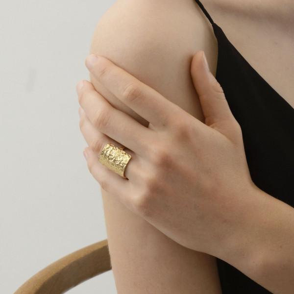 Amber Square Ring Versilbert