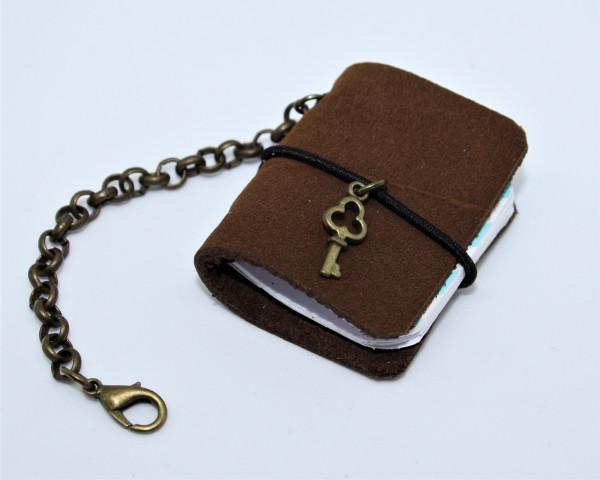 Machbar Schlüsselanhänger Leder Notizbüchlein braun