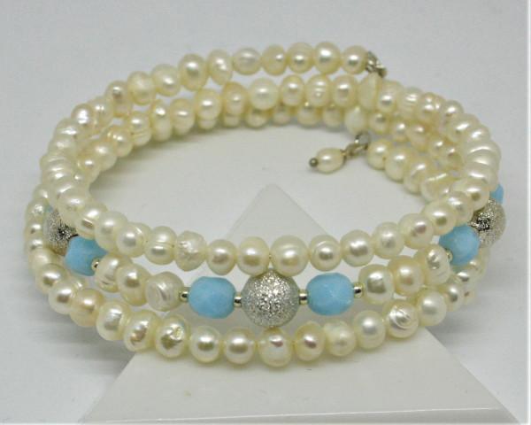 Machbar Wickelarmband echte Perlen silber hellblau