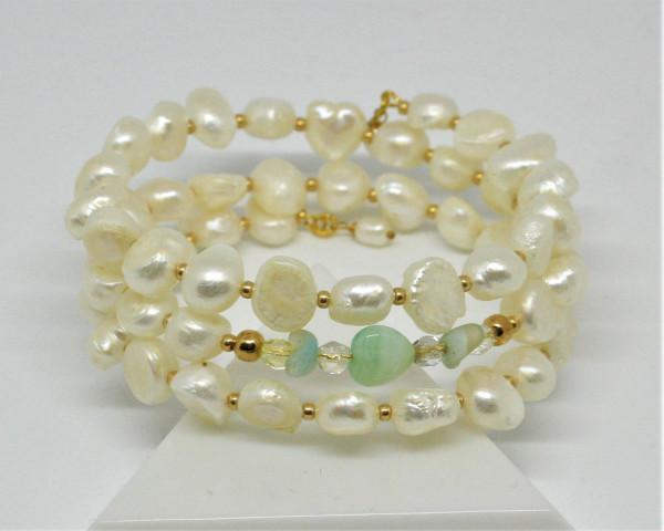 Machbar Wickelarmband echte Perlen weiß und mint